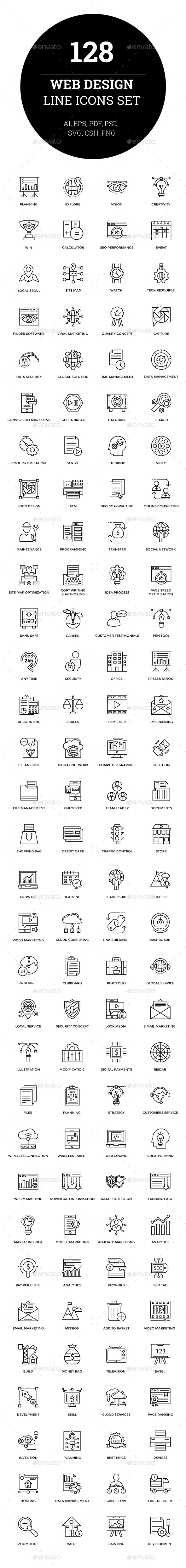 GraphicRiver 128 Web Design Line Icons 21107496