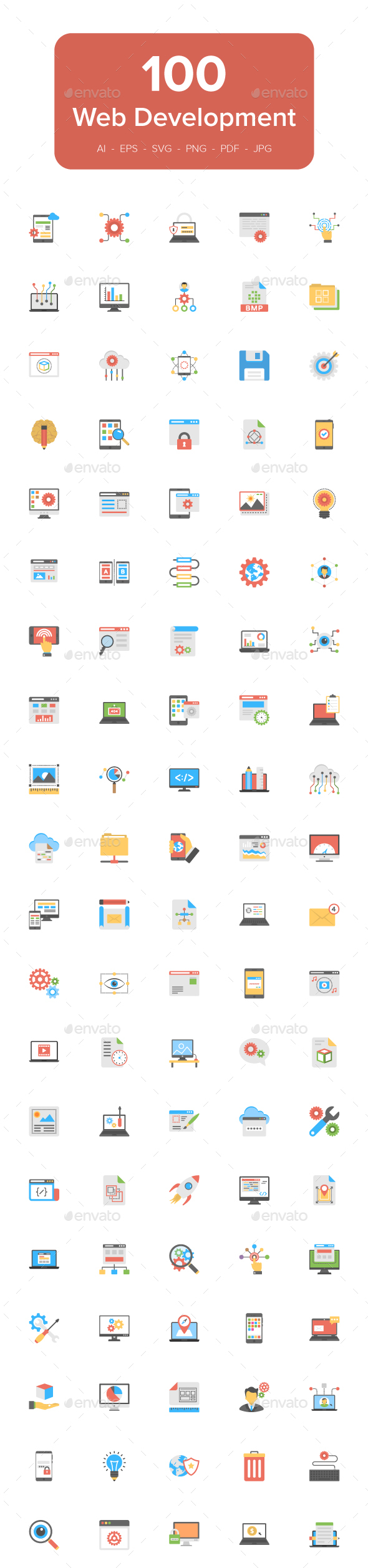 100 Flat Icons of Web Development - Icons