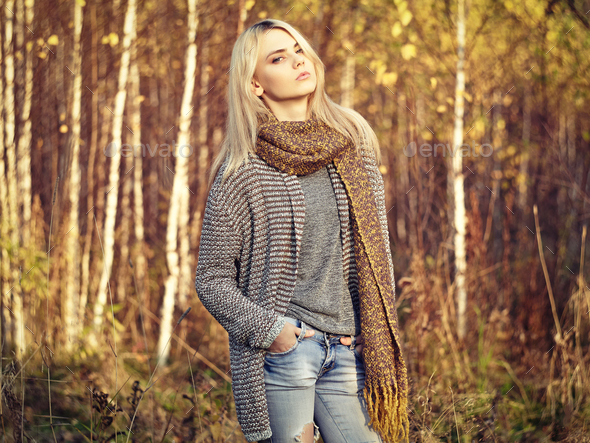 Portrait of young Beautiful Woman in Autumn Pullover - Stock Photo - Images