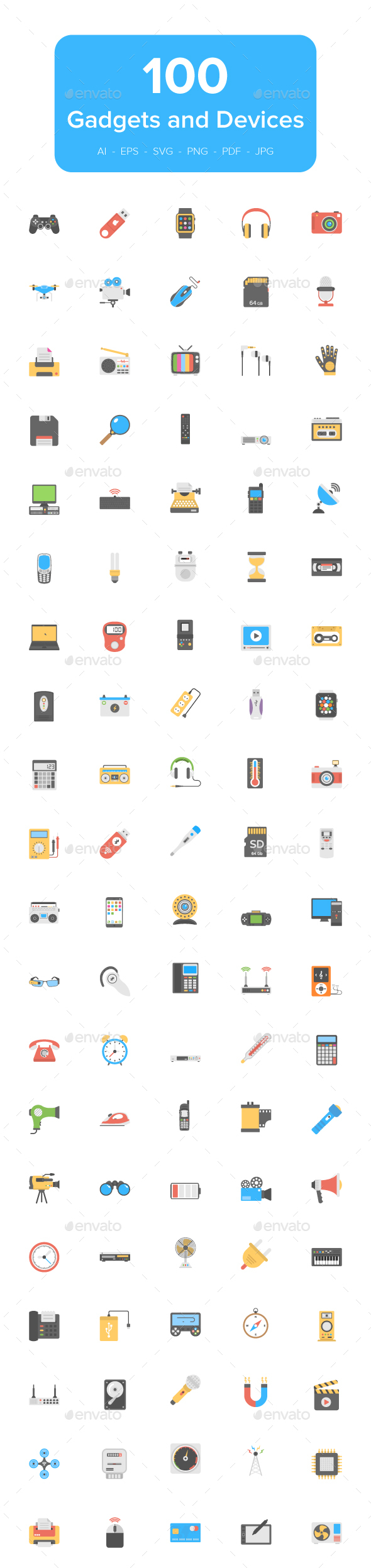 GraphicRiver Flat Icons of Gadgets and Devices 21107624