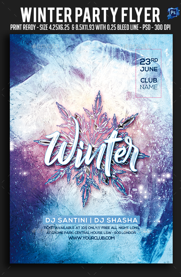 GraphicRiver Winter Party Flyer 21107704