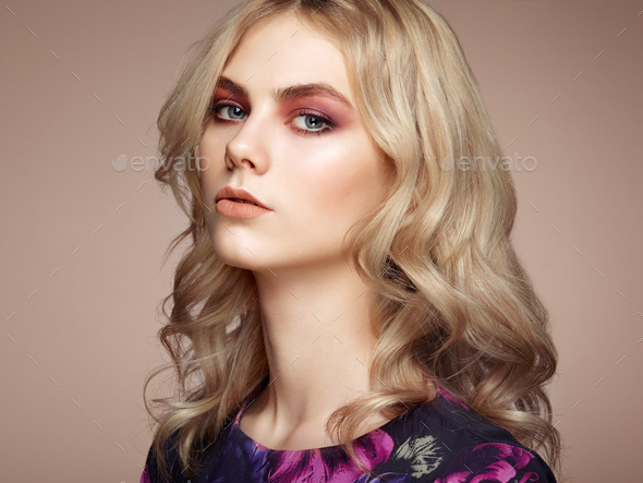 Portrait of beautiful sensual woman with elegant hairstyle - Stock Photo - Images