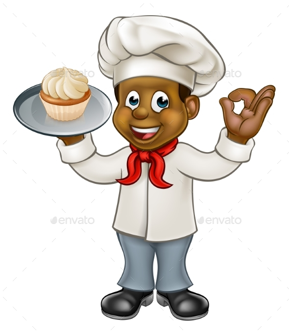 Black Chef or Baker Cartoon - People Characters