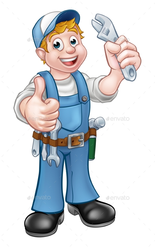 GraphicRiver Cartoon Character Mechanic or Plumber 21107727