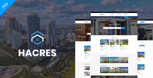 Download Hacres-Real Estate Psd Template            nulled nulled version
