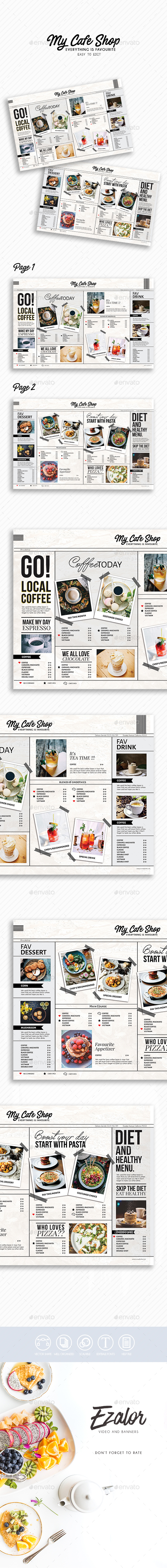 Cafe Boss - Food Menus Print Templates