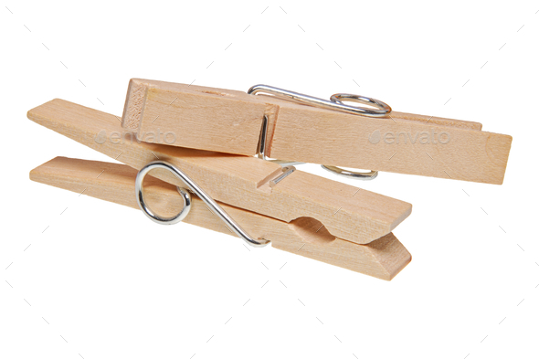 Wooden clothes pegs on a white background - Stock Photo - Images