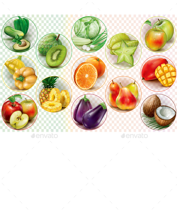 GraphicRiver Rings with Fruits and Vegetables 21107959