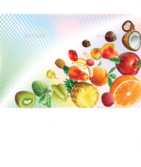 Fruits on a Transparent Volumetric Background - Food Objects