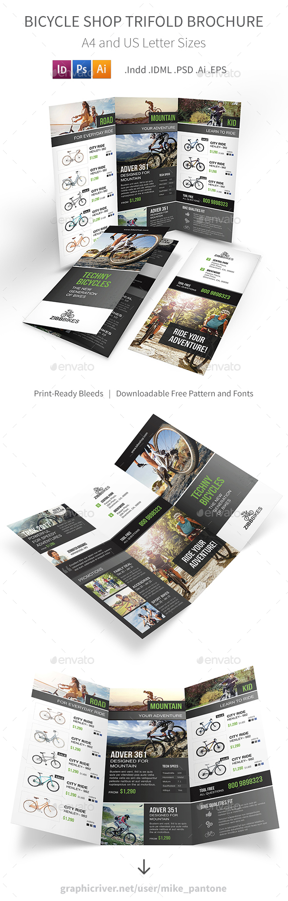 Bicycle Shop Trifold Brochure - Informational Brochures