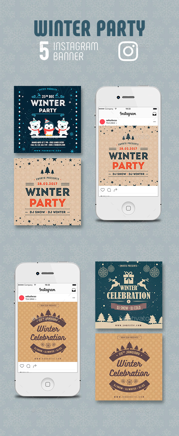 GraphicRiver Winter Party Instagram Banner 21108044