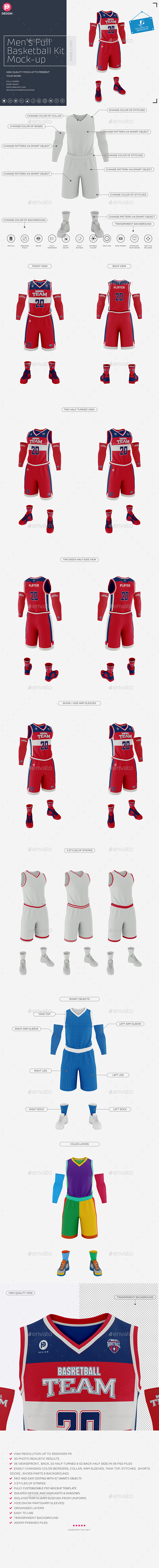 GraphicRiver Men's Full Basketball Kit V-Neck Jersey Mock-up 21108237