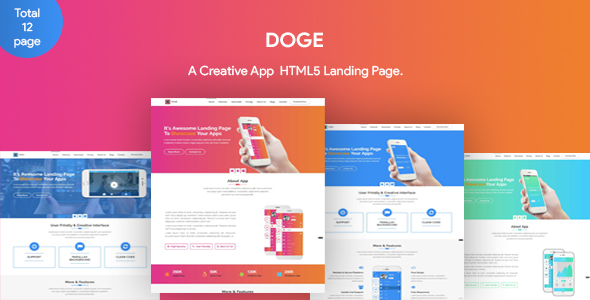 DOGE - App Landing Page - Technology Site Templates