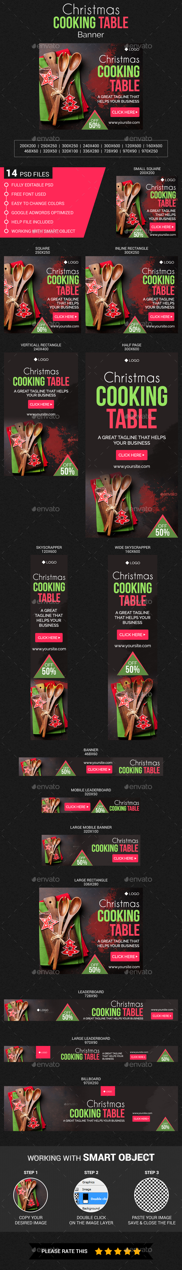 Christmas Cooking Table Banner - Banners & Ads Web Elements