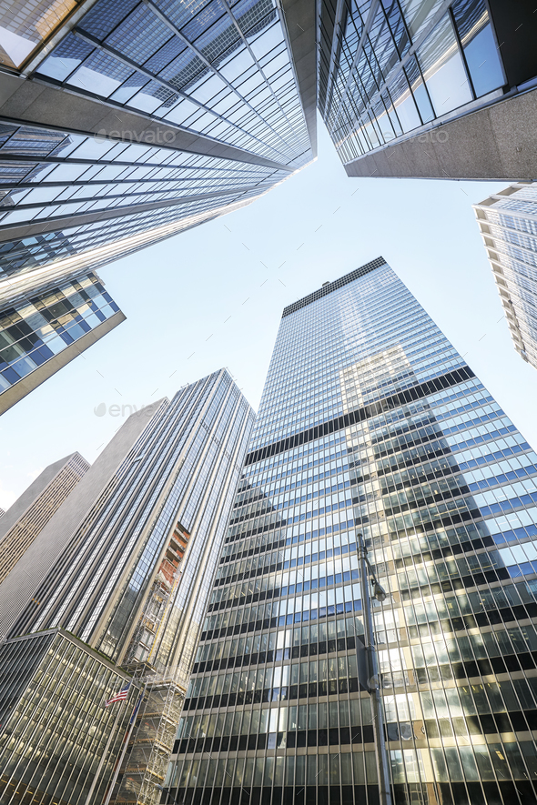 Looking up at Manhattan skyscrapers, New York. - Stock Photo - Images