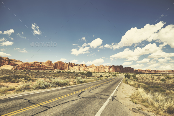 Retro toned picture of a scenic road, travel concept, USA. - Stock Photo - Images
