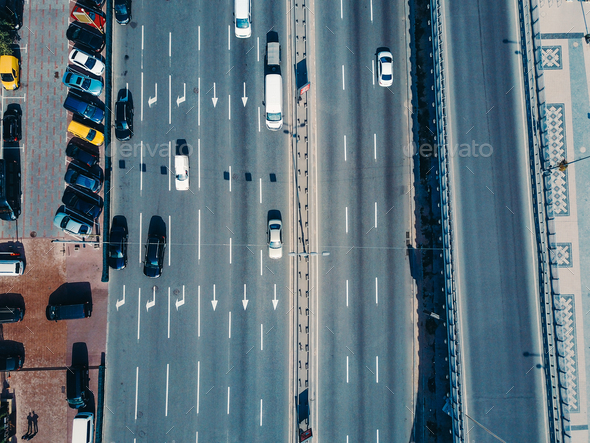Aerial view from a drone on the highway - Stock Photo - Images