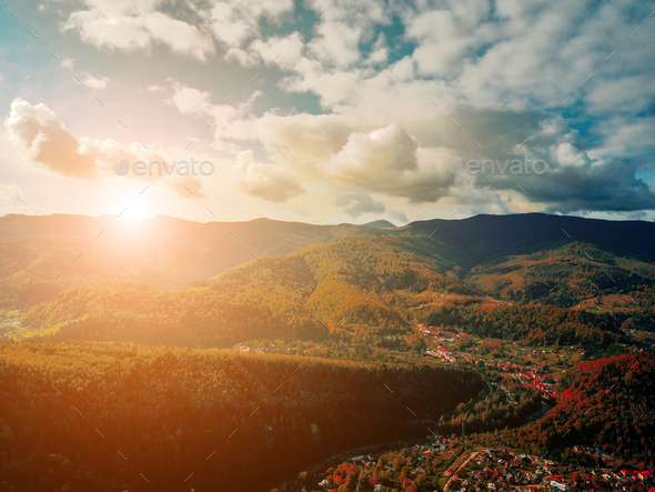 small town in the countryside - Stock Photo - Images