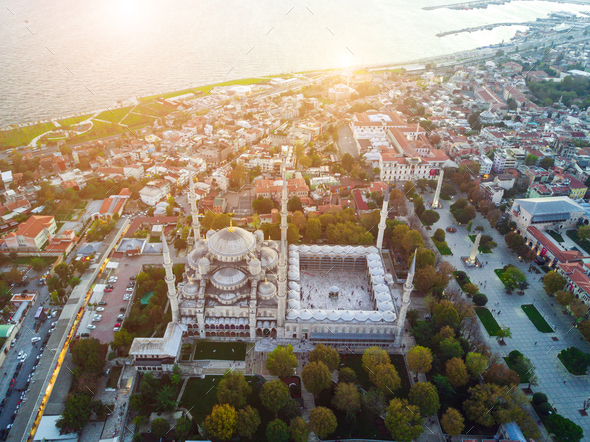Aerial Footage of Sultanahmet, Blue Mosque - Stock Photo - Images
