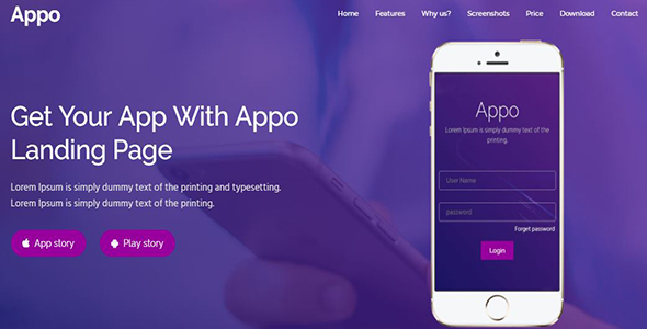 Appo - App Landing Page - Technology Site Templates