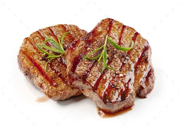freshly grilled steaks - Stock Photo - Images