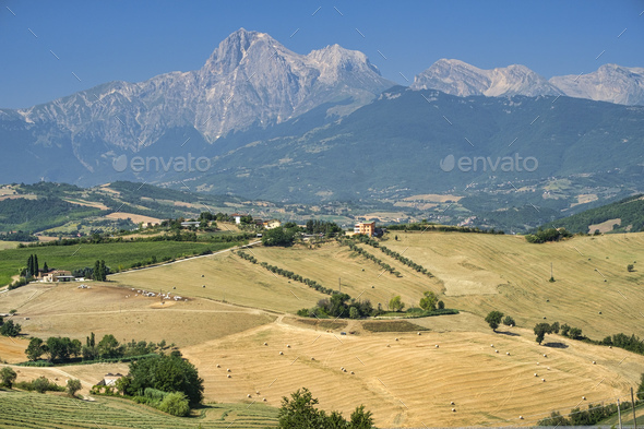 Landscape near Teramo (Abruzzi) at summer - Stock Photo - Images