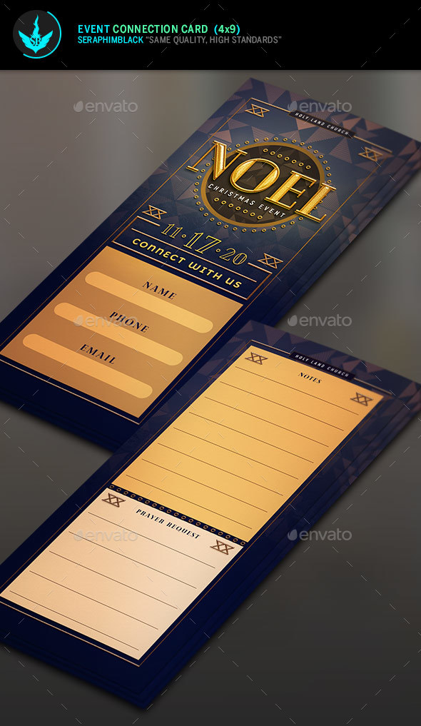Noel Christmas Gala Event Connection Card Template - Miscellaneous Events