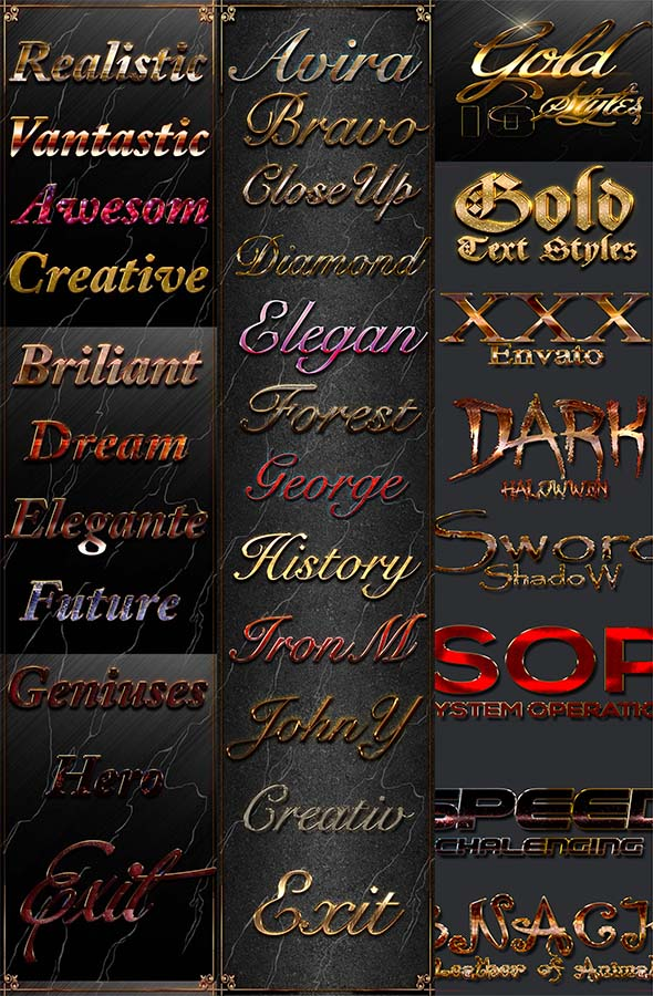 30 Bundle 3D Text Styles D39-D43 - Styles Photoshop