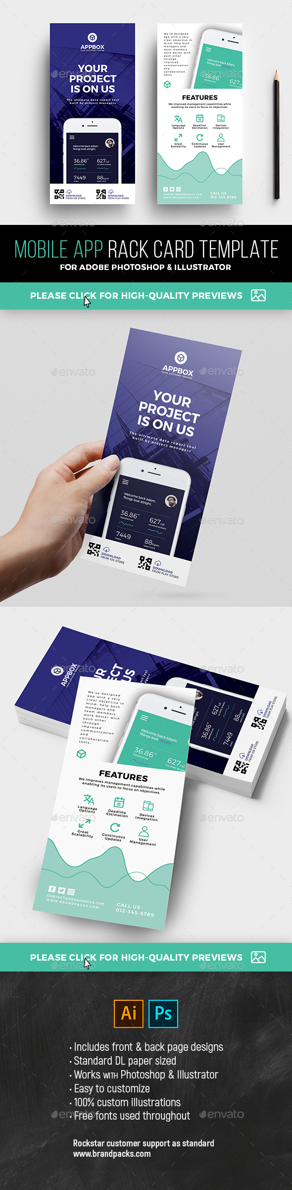 GraphicRiver Mobile App DL Rack Card Template 21109286
