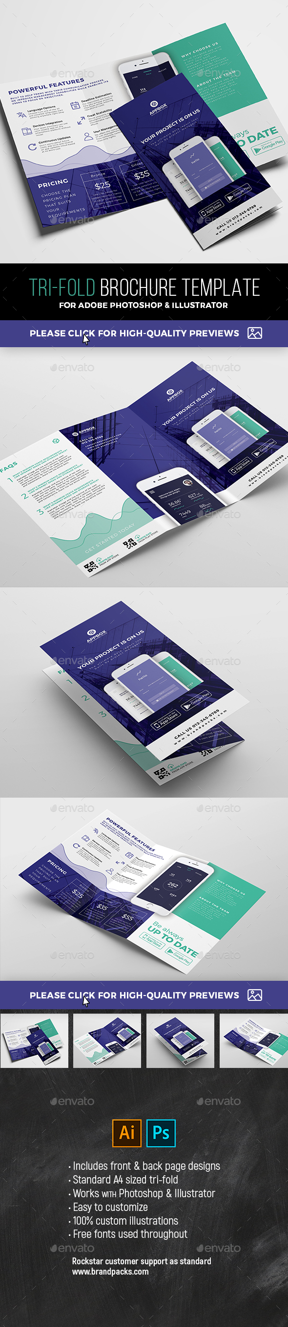 GraphicRiver Mobile App Tri-Fold Brochure 21109299
