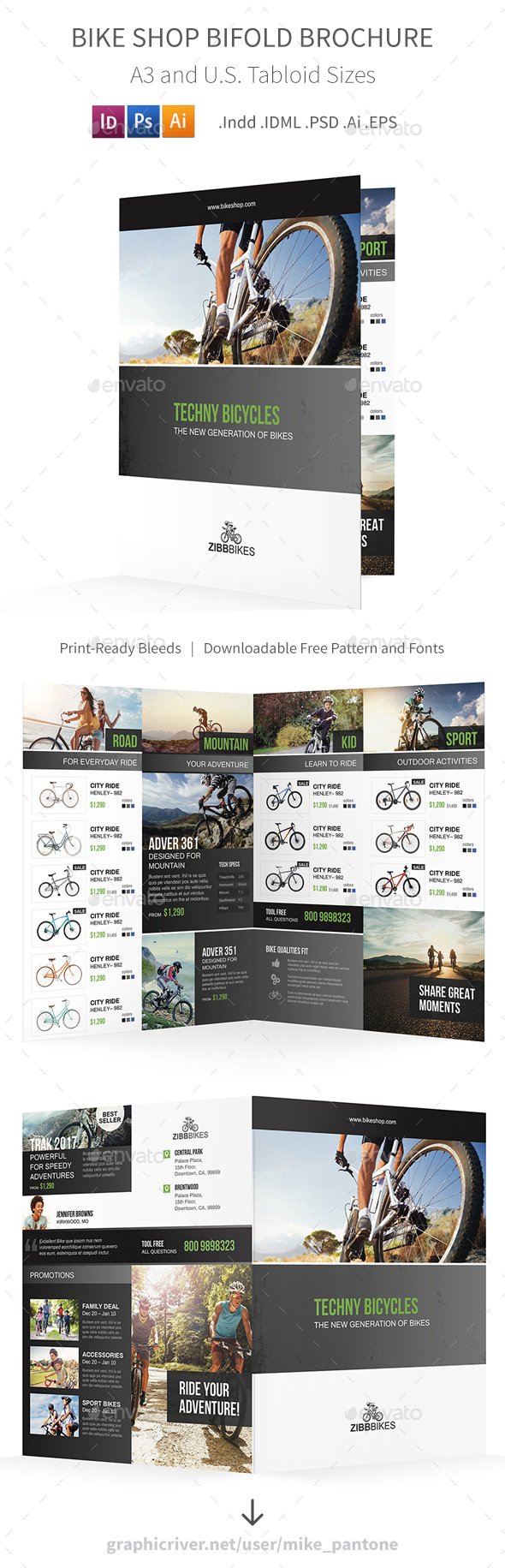 Bicycle Shop Bifold / Halffold Brochure - Informational Brochures