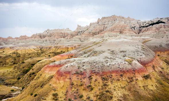 Rock Formations Badlands National Park Rural South Dakota - Stock Photo - Images