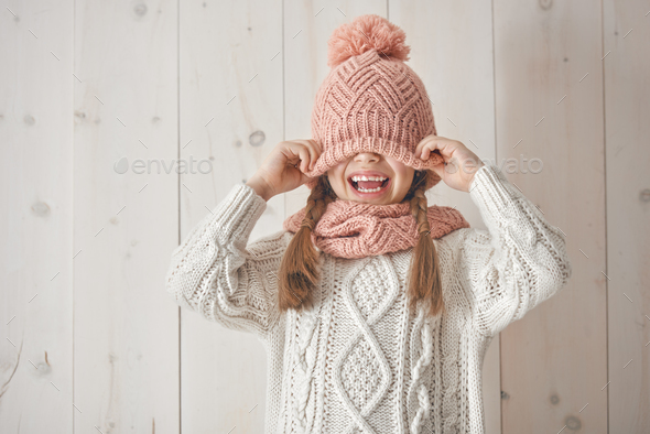 Winter portrait of little girl - Stock Photo - Images