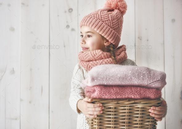 Winter portrait of little girl - Stock Photo - Images