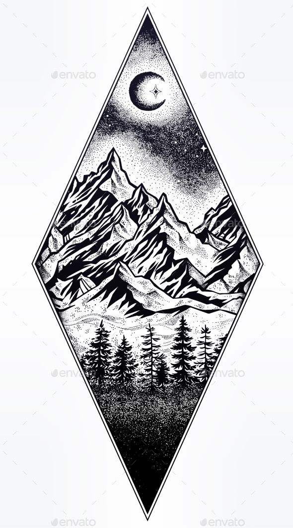 GraphicRiver Hand Drawn Nature Night Sky Mountains Landscape 21109510