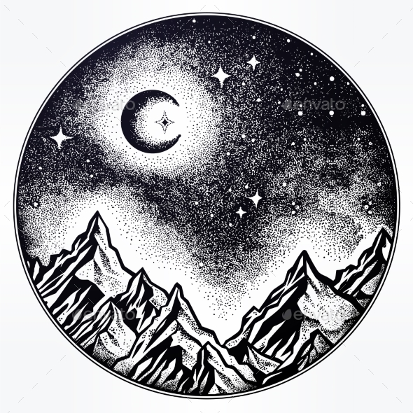 GraphicRiver Hand Drawn Nature Night Sky Mountains Landscape 21109514