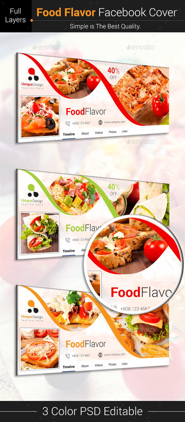 GraphicRiver Food Flavor Facebook Cover 21109563