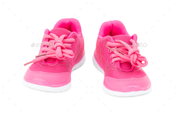 Pink training shoes for girls. - Stock Photo - Images