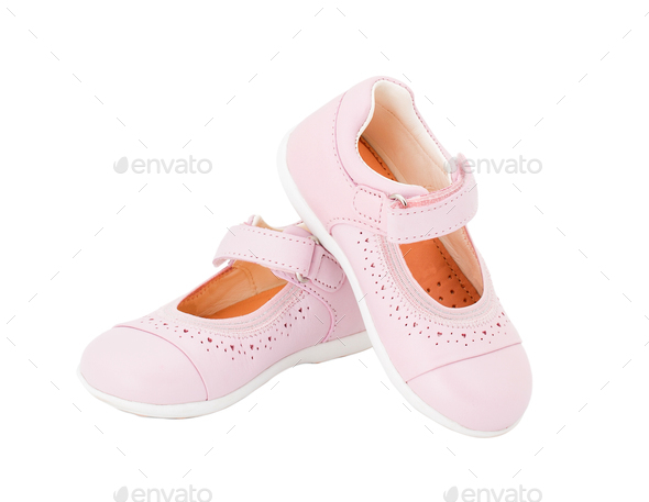 Pink leather baby shoes. - Stock Photo - Images