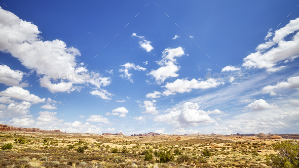Vast deserted landscape with beautiful cloudscape. - Stock Photo - Images