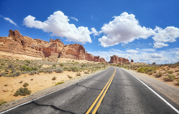 Scenic road in Arches National Park in Utah, USA. - Stock Photo - Images