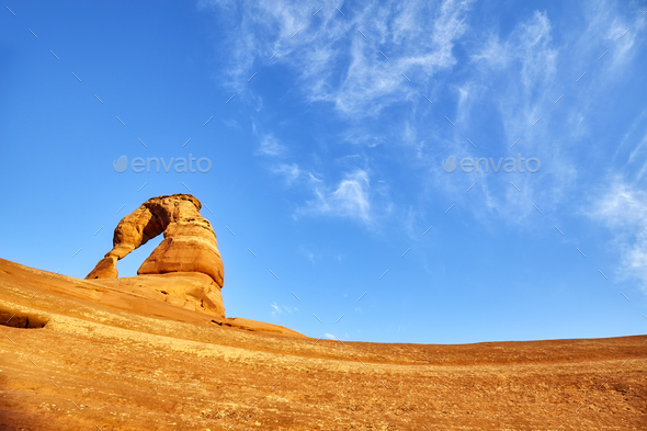 Delicate Arch at sunset, Utah, USA. - Stock Photo - Images