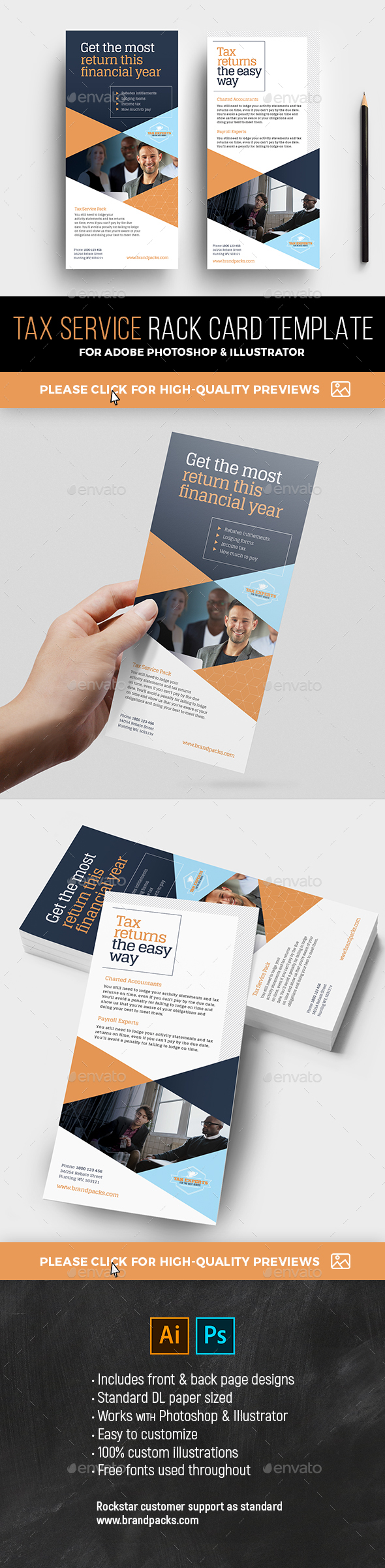 GraphicRiver DL Tax Service Rack Card Template 21109737