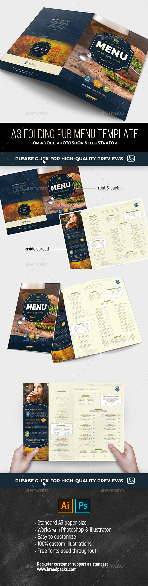 A Pub Menu Template By BrandPacks GraphicRiver - Foldable menu template