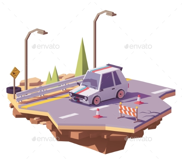 Vector Low Poly Hot Hatch on the Highway - Man-made Objects Objects