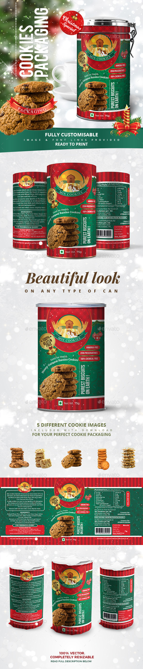 GraphicRiver Cookies Packaging Christmas Special 21106417