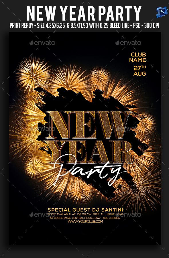 GraphicRiver New Year Party Flyer 21110205