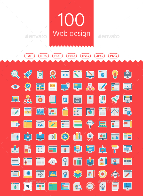 GraphicRiver 100 Web Design & Programming Sticker Icons 21110287