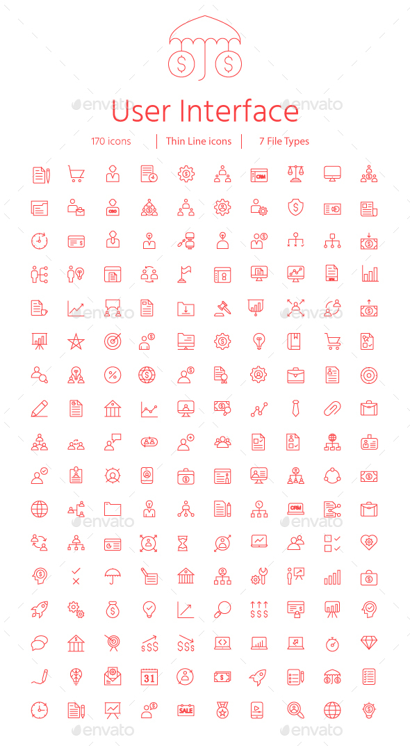 150+ User Interface Thin Line Icons - Business Icons