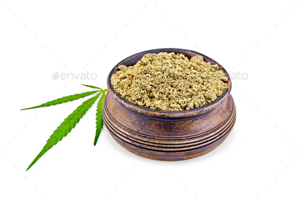 Flour hemp in bowl - Stock Photo - Images